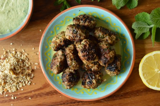 These lamb kofta meatballs are packed with fragrant herbs and spices, dipped in tahini yoghurt and loaded with dukkah spice mix they are simply divine!