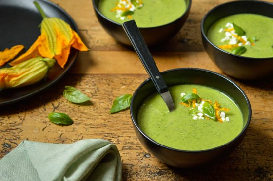 Courgette soup with fresh basil, the perfect hot or cold soup