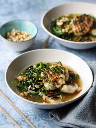 Grilled king prawn fish cakes with ramsons (wild garlic) & a warming Asian broth.