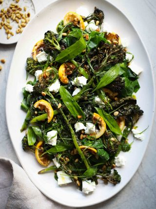 Wild garlic, crispy kale & roasted broccoli salad - keto lunch ideas