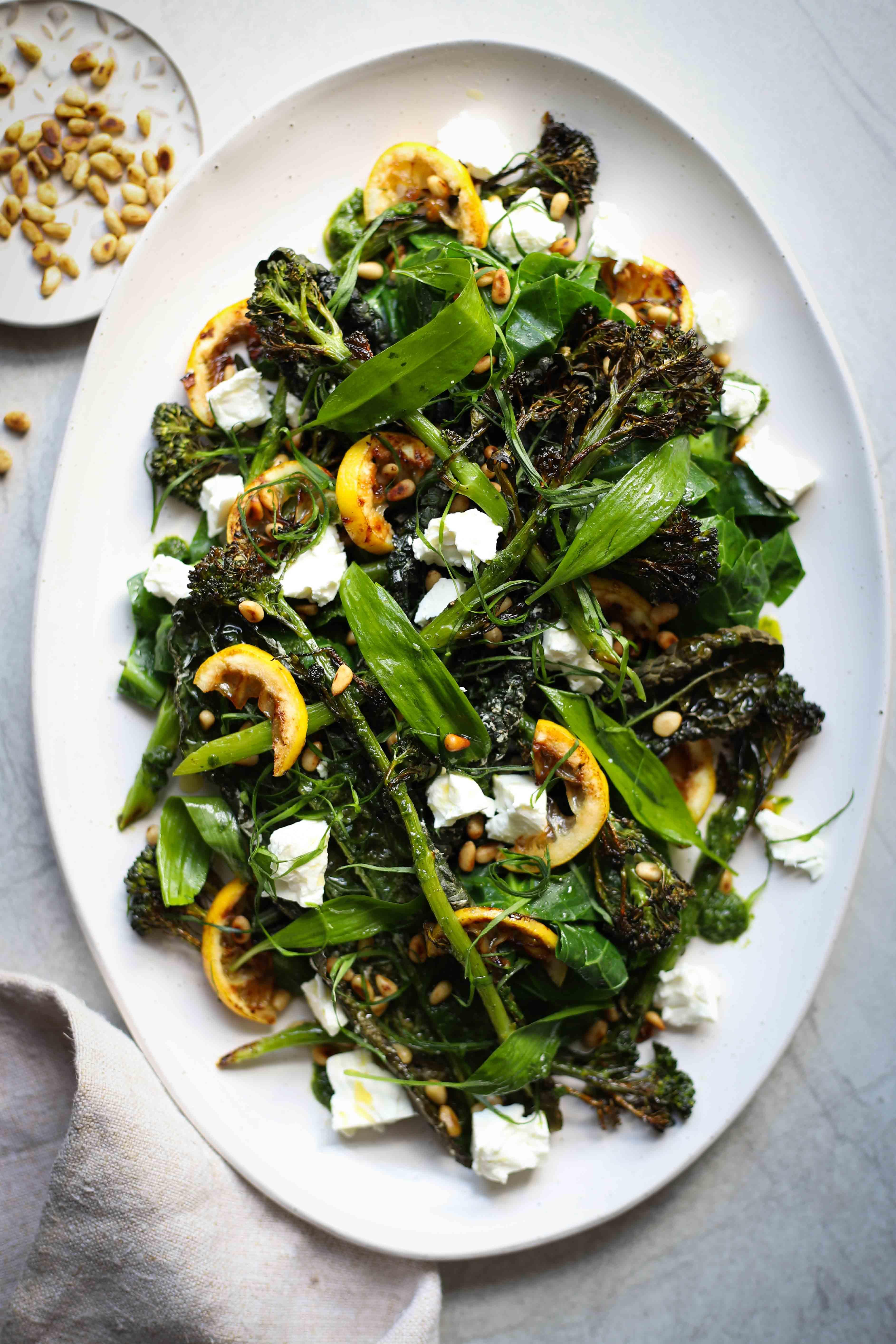 Wild garlic, crispy kale & roasted broccoli salad - keto lunch ideas