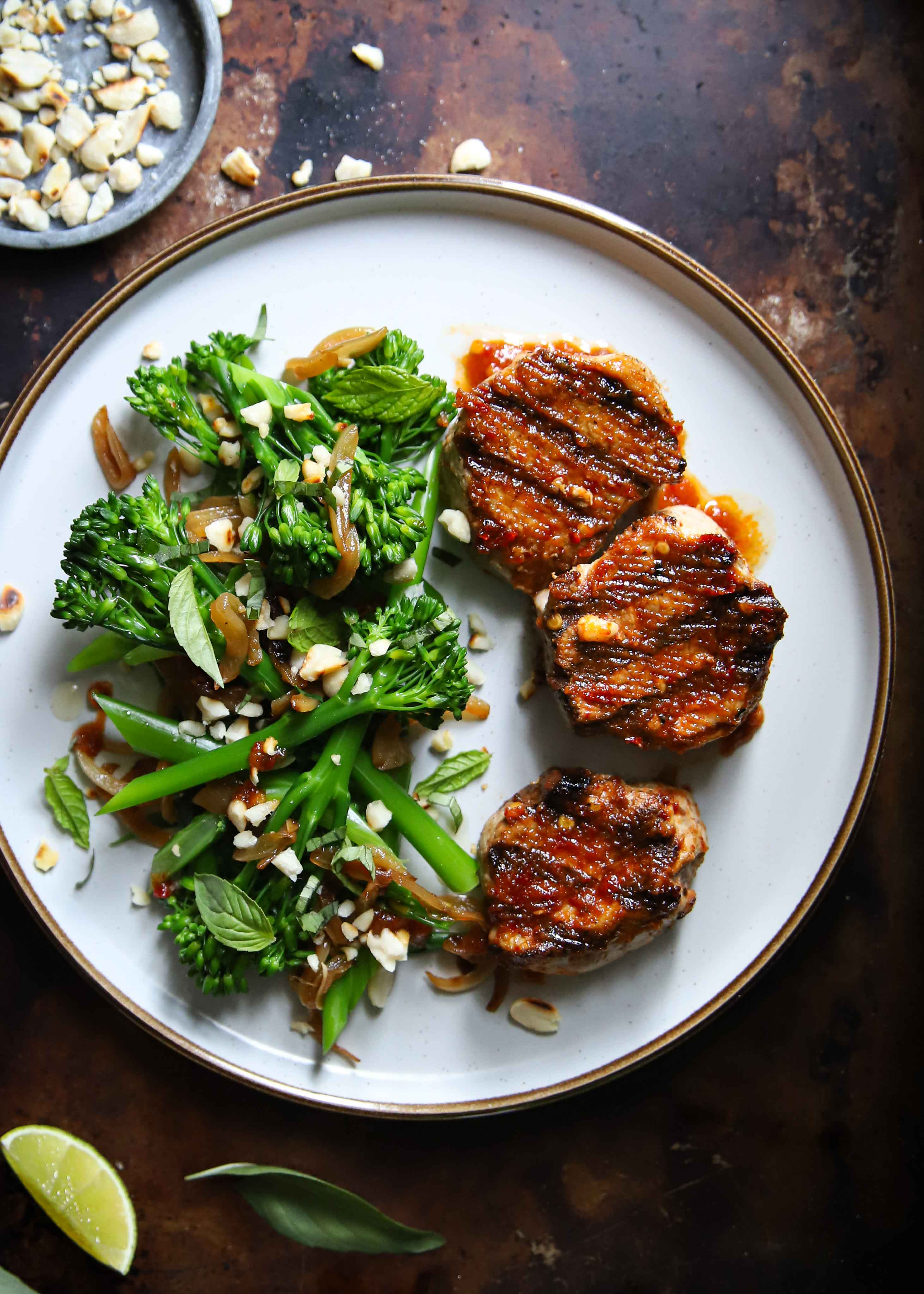 Juicy sambal pork medallions served with an Asian style long stem broccoli side…This Indonesian sambal recipe is easy, healthy & so so good!